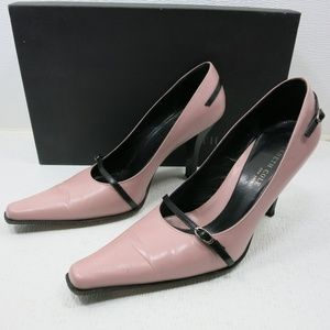 Kenneth Cole Lavender Black Leather Heels 8.5 M